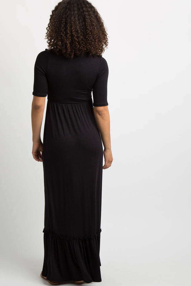 Black Solid Ruffle Trim Maternity Maxi Dress