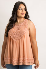 Peach Crochet Neck Chiffon Plus Blouse