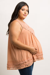Peach Crochet Neck Chiffon Maternity Plus Blouse