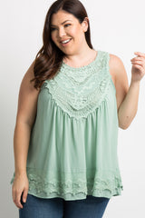 Mint Crochet Chiffon Plus Blouse