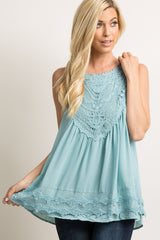Light Blue Crochet Neck Chiffon Blouse