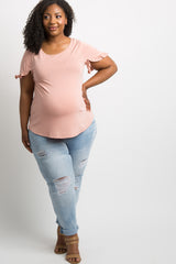 Light Pink Ruffle Sleeve Plus Maternity Top