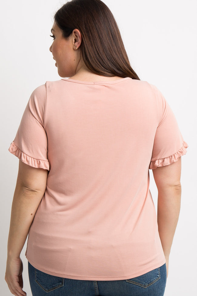 Light Pink Slit Ruffle Sleeve Plus Top