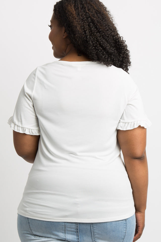 White Ruffle Sleeve Plus Maternity Top