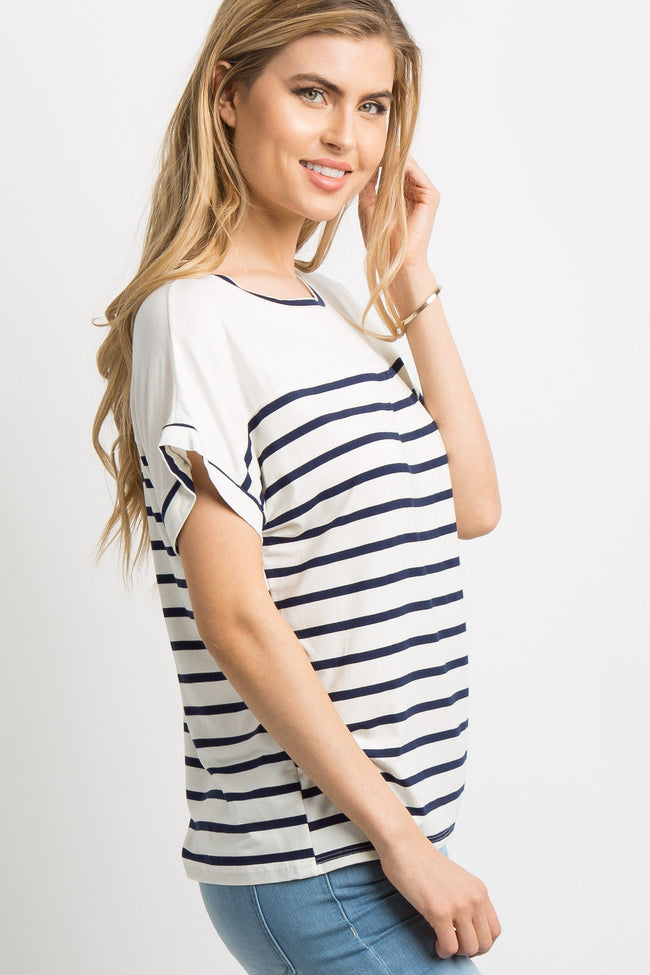 Navy Striped Colorblock Dolman Sleeve Top