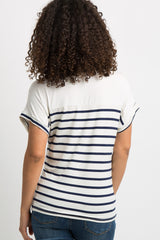 Navy Striped Colorblock Dolman Sleeve Maternity Top