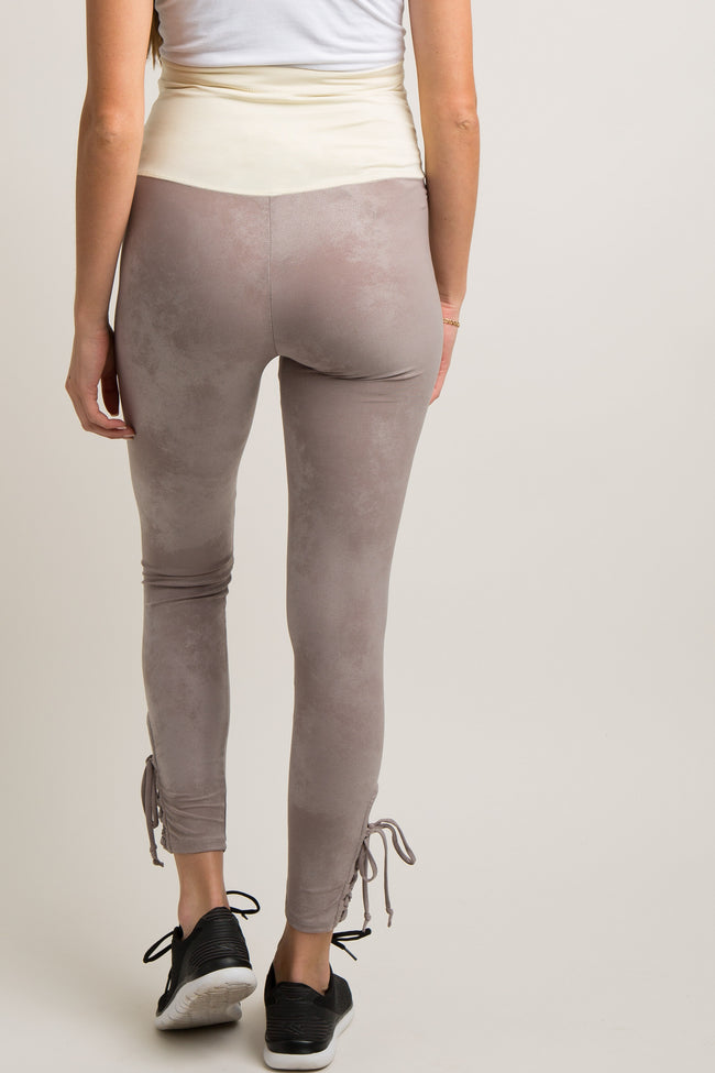 Mocha Mineral Wash Lace-Up Active Maternity Leggings