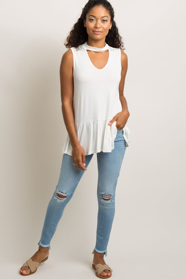 White Mock Neck Sleeveless Peplum Top