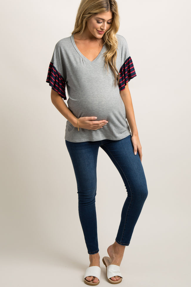 Heather Grey Colorblock Striped Accent Top