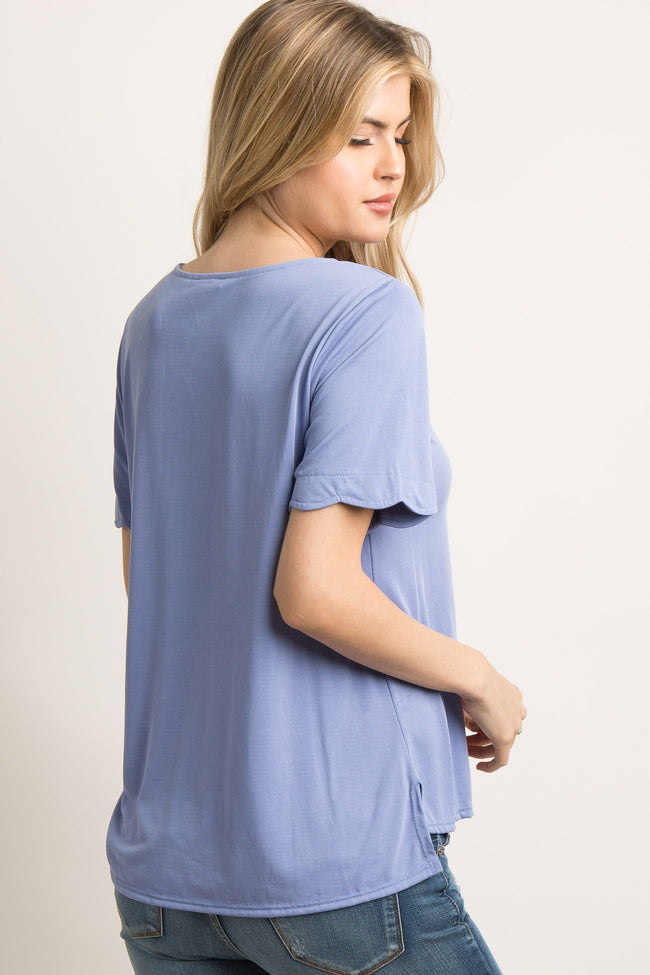 Periwinkle Blue Scallop Trim Short Sleeve Top