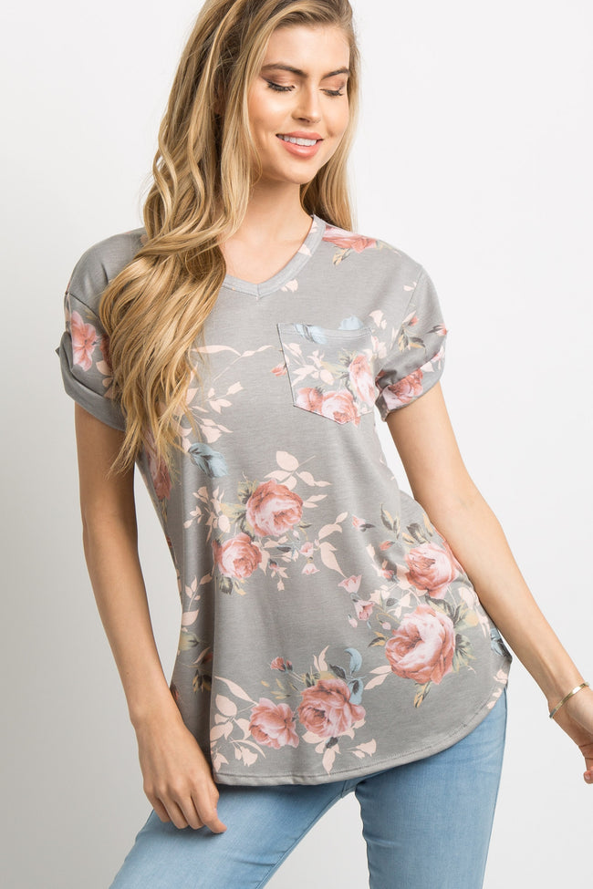Grey Floral Pocket Accent Cuffed Maternity Top