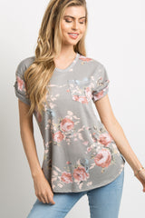 Grey Floral Pocket Accent Cuffed Top