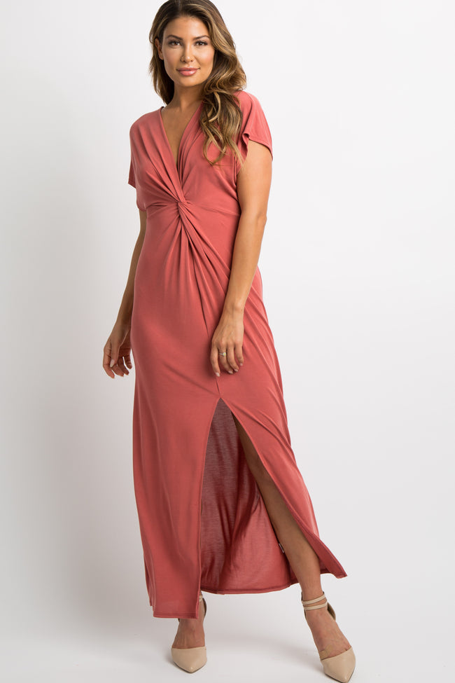 Rust Twist Front Slit Maxi Dress