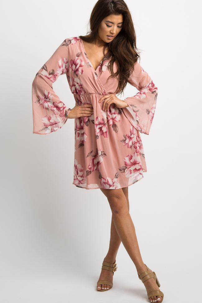 Mauve Floral Chiffon Wrap Dress