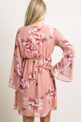 Mauve Floral Chiffon Wrap Maternity Dress