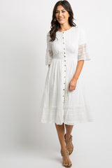 White Lace Overlay Button Front Midi Dress