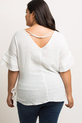 White Ruffle Sleeve Side Tie Plus Maternity Top