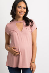 Mauve Solid Cutout Front Maternity Top