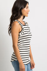 White Striped Ruffle Tank Top