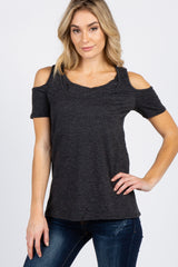 Charcoal Grey Cutout Cold Shoulder Layered Maternity/Nursing Top
