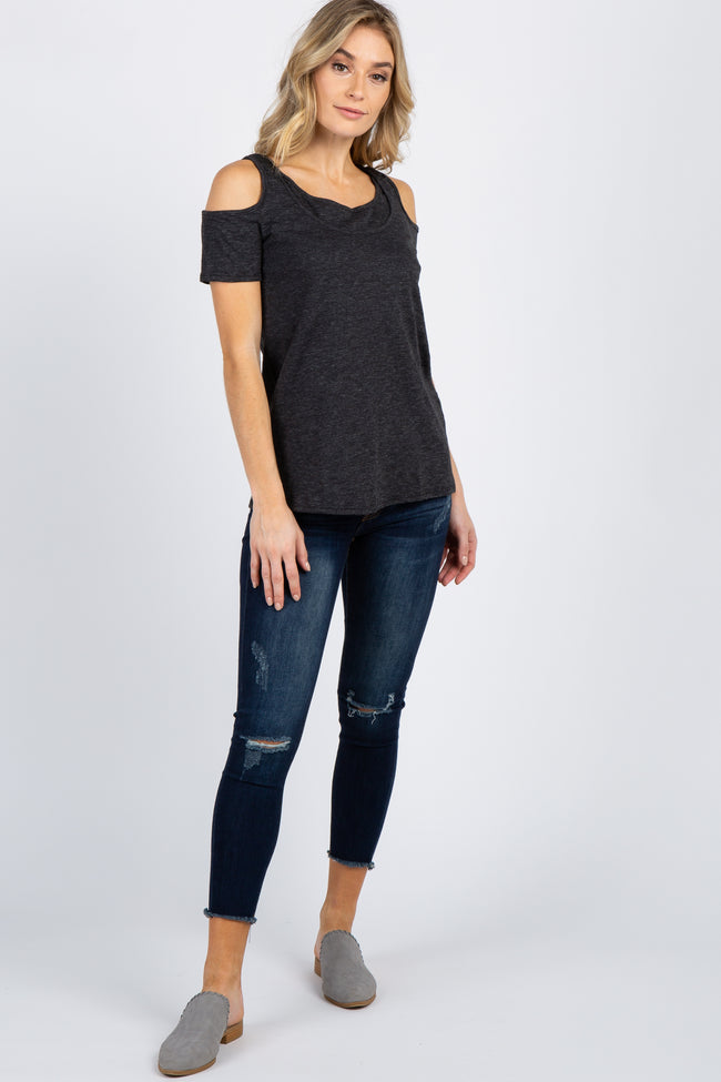 Charcoal Grey Cutout Cold Shoulder Layered Nursing Top