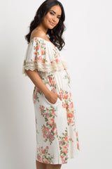 White Faded Floral Ruffle Crochet Trim Maternity Midi Dress