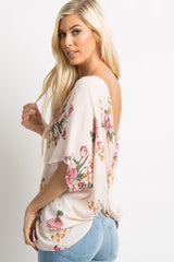 Peach Floral Knot Back Dolman Top