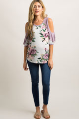Lavender Striped Floral Raw Cut Ruffle Maternity Top