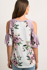 Lavender Striped Floral Raw Cut Ruffle Top