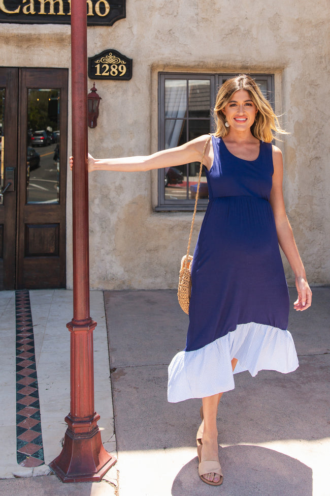 Navy Blue Striped Ruffle Hem Sleeveless Maternity Dress