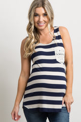 Navy Blue Striped Crochet Pocket Maternity Tank Top