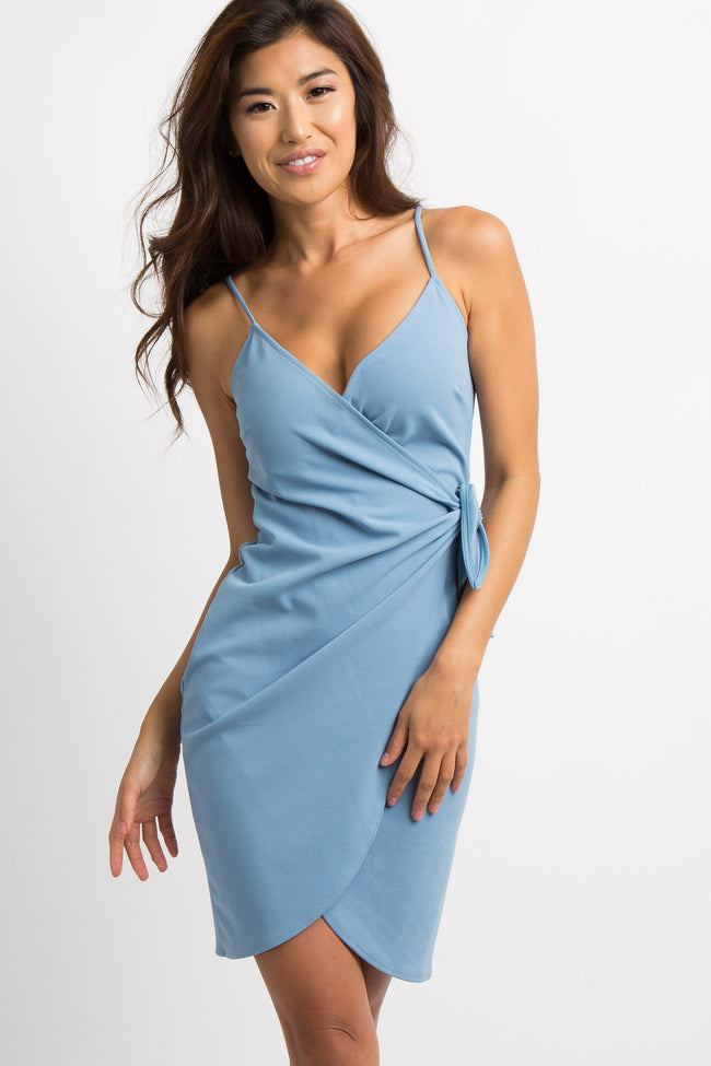 Light Blue Cami Wrap Dress