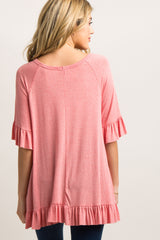 Coral Raw Cut Ruffle Trim Maternity Top