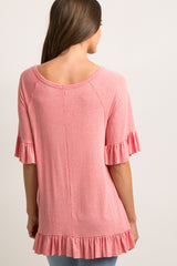 Coral Raw Cut Ruffle Trim Top