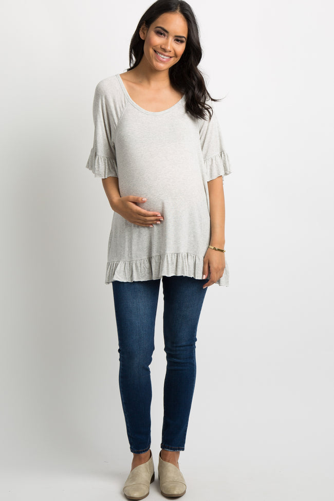Grey Raw Cut Ruffle Trim Maternity Top