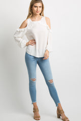 White Ruffle Trim Cold Shoulder Top
