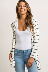 Black Striped Maternity Cardigan