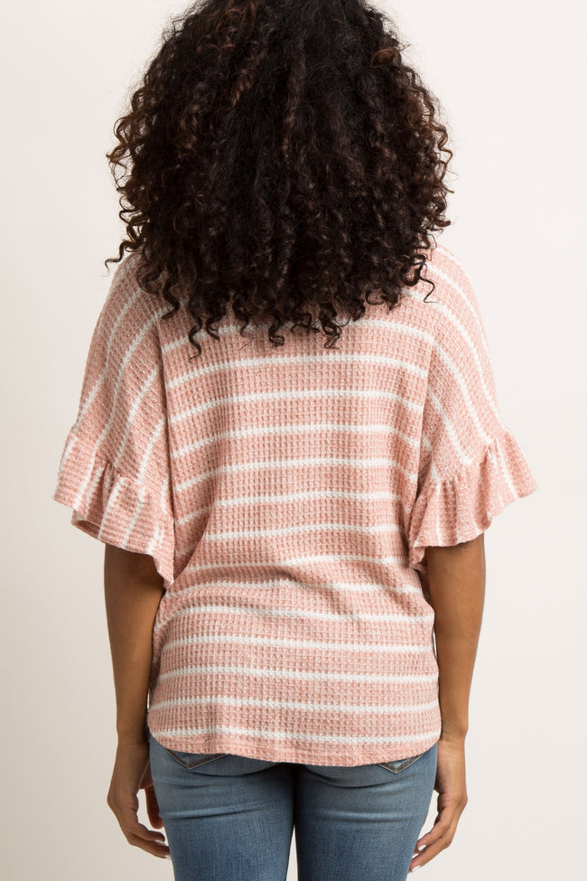 Coral Striped Waffle Knit Button Front Top