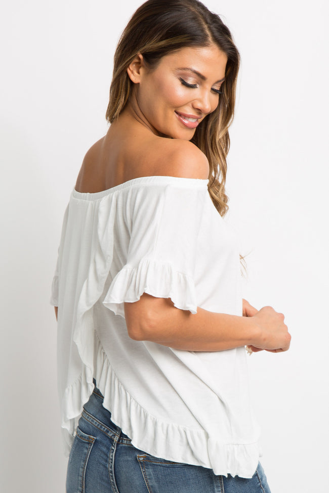 White Ruffle Trim Open Wrap Back Top