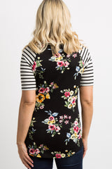 Black Floral Striped Sleeve Maternity Top
