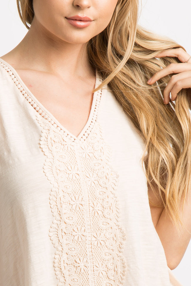 Peach Crochet Accent Tie Back Tank Top