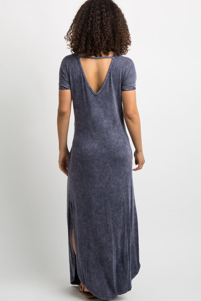 Navy Faded Cutout Back Maternity Maxi Dress