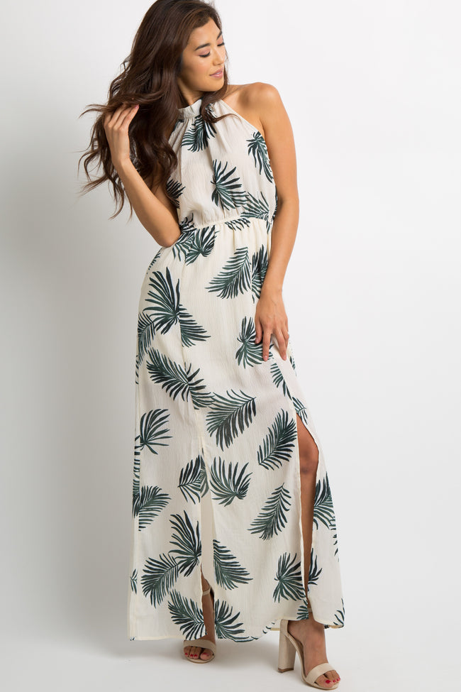 Ivory Tropical Print Halter Maxi