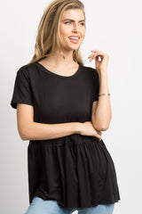 Black Solid Raw Cut Peplum Top