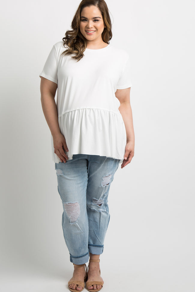 Ivory Solid Raw Cut Plus Maternity Peplum Top