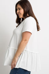 Ivory Solid Raw Cut Plus Peplum Top