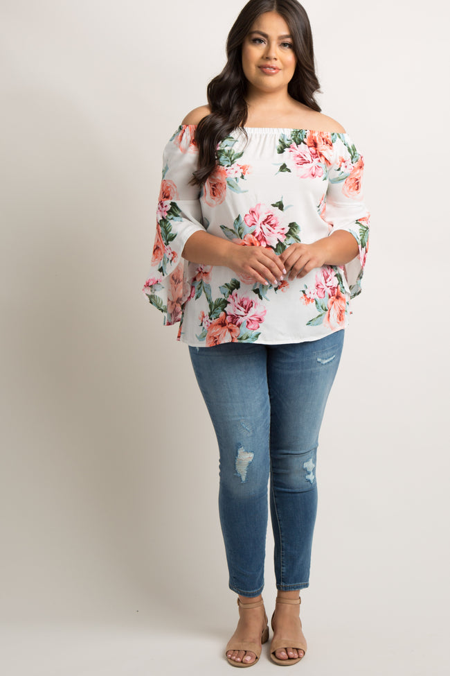 White Floral Off Shoulder Bell Sleeve Plus Top