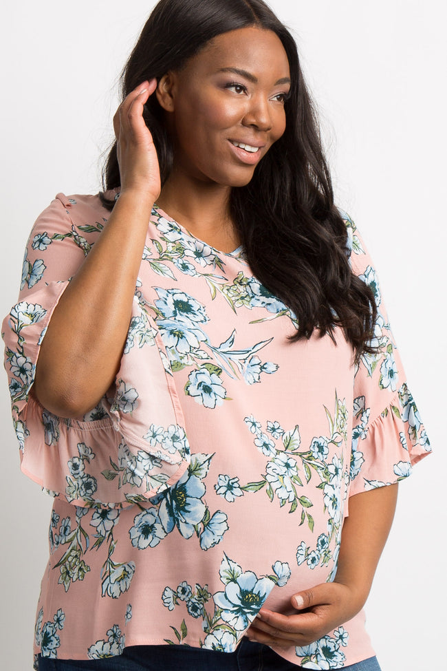 Peach Floral Tie Back Ruffle Trim Plus Maternity Top