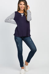 Navy Striped Colorblock Sleeve Maternity Top