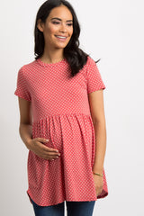Red Faded Polka Dot Print Maternity Peplum Tunic